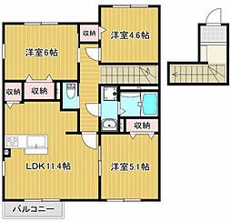 神鉄三田線 五社駅 徒歩14分の賃貸アパート 2階3LDKの間取り