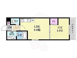 近鉄京都線 伏見駅 徒歩2分の賃貸マンション 1階1LDKの間取り