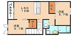 福岡県飯塚市横田の賃貸アパートの間取り