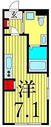 つくばエクスプレス 浅草駅 徒歩13分の賃貸マンション 3階ワンルームの間取り