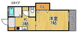 サンメイトA・B棟[2階]の間取り