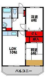 福岡県宗像市田熊2丁目の賃貸アパートの間取り