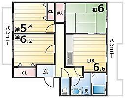 神戸市西神・山手線 西神南駅 徒歩13分の賃貸マンション 2階3DKの間取り