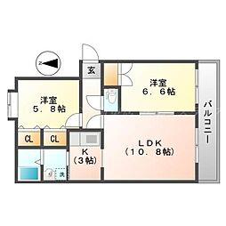 北海道札幌市東区北二十六条東18丁目の賃貸マンションの間取り