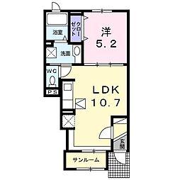 青森県八戸市小中野2丁目の賃貸アパートの間取り