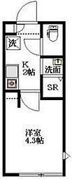 東京メトロ丸ノ内線 中野新橋駅 徒歩8分の賃貸マンション 3階1Kの間取り