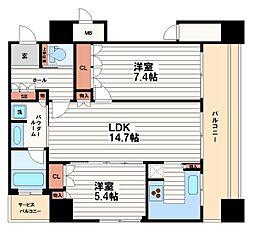 リーガルタワー大阪[20階]の間取り