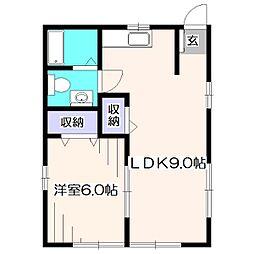東京都西東京市谷戸町1丁目の賃貸アパートの間取り