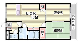 JR山陽新幹線 西明石駅 徒歩13分の賃貸マンション 3階2LDKの間取り