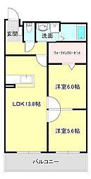 ハートフルマンション 新左衛門 2階2LDKの間取り