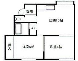 北海道札幌市南区石山東4丁目の賃貸アパートの間取り