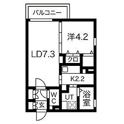 Prio笠寺 3階1LDKの間取り