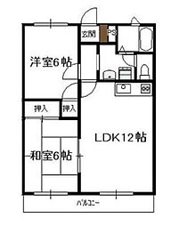 ディアコート(清武) 2階ワンルームの間取り