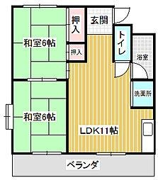 愛知県名古屋市中川区春田3丁目の賃貸マンションの間取り