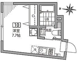 東京都文京区千駄木2丁目の賃貸アパートの間取り