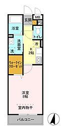 埼玉県草加市草加2丁目の賃貸アパートの間取り