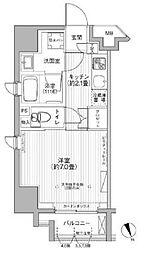 CYPRESS ONARIMON 7階1Kの間取り