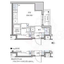 名古屋市営東山線 新栄町駅 徒歩9分の賃貸マンション 12階ワンルームの間取り