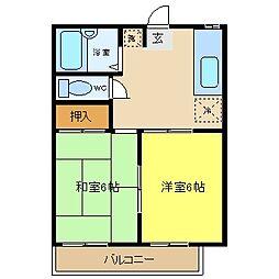 コスモハイツ松本2[101号室]の間取り