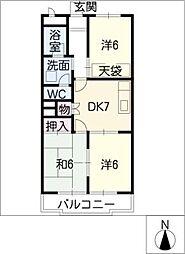 グリーンパークOH92 A棟[2階]の間取り