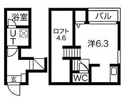 愛知県名古屋市昭和区北山町1丁目の賃貸アパートの間取り