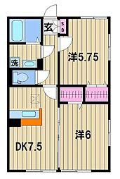 東京都足立区神明1丁目の賃貸アパートの間取り