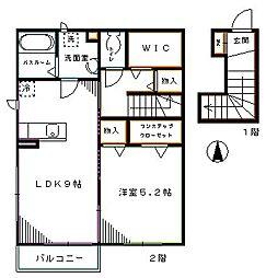西武新宿線 下井草駅 徒歩2分の賃貸アパート 2階1LDKの間取り