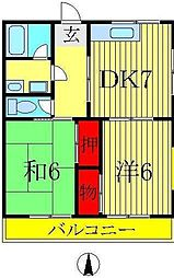 第3高橋コーポ[203号室]の間取り
