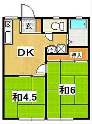 関山ハイツ[202号室]の間取り