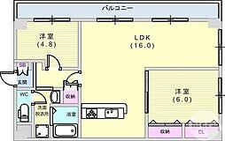 阪急神戸本線 六甲駅 徒歩21分の賃貸マンション 3階2LDKの間取り