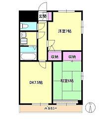 東京都八王子市北野町の賃貸マンションの間取り