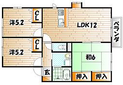 グローブ・たかの D棟[2階]の間取り