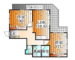 ラフォーレ横山[4階]の間取り