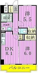 エクセラン東松戸[5階]の間取り