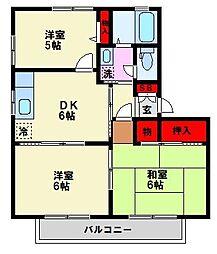 福岡県福岡市南区野間4丁目の賃貸アパートの間取り