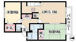 愛知県日進市香久山2の賃貸アパートの間取り
