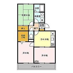 埼玉県春日部市緑町4の賃貸アパートの間取り
