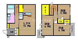 岡山県岡山市南区築港新町2丁目の賃貸アパートの間取り