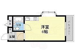 三恵十三東ハイツ 4階ワンルームの間取り