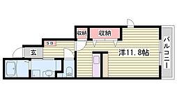 JR東海道・山陽本線 姫路駅 徒歩27分の賃貸アパート 1階1Kの間取り