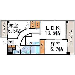 ラディエ南武庫之荘III[3階]の間取り