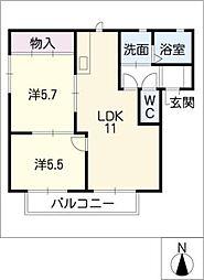 パークサイドハイツ D棟[1階]の間取り