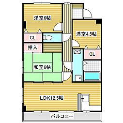 愛知県名古屋市中川区供米田2丁目の賃貸マンションの間取り