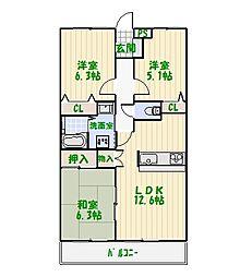 東京都足立区中川5丁目の賃貸マンションの間取り