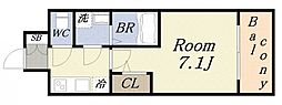 サムティ大阪リバーテラス 3階1Kの間取り