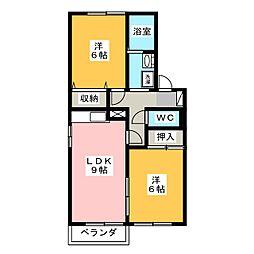 セジュール サンピアA B C[1階]の間取り