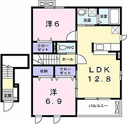 兵庫県姫路市別所町別所3丁目の賃貸アパートの間取り