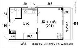 城ノ内コーポ[201号室]の間取り