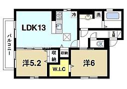 ル・ソレイユ 1階2LDKの間取り