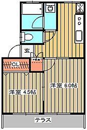 多摩ハイツA[2号室]の間取り